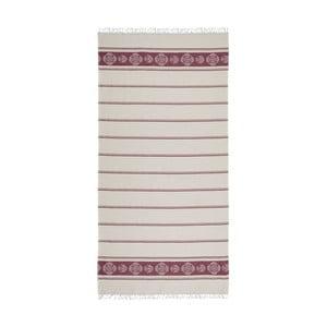 Vínovo-béžová hammam osuška Deco Bianca Loincloth Burgundy Stripe, 80x170cm