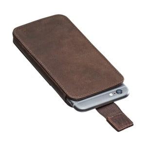 Tmavohnedé kožené puzdro na iPhone 6/6S Packenger