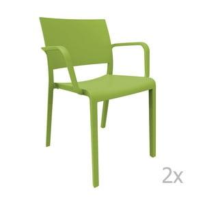 Sada 2 zelených záhradných stoličiek sopierkami Resol Fiona