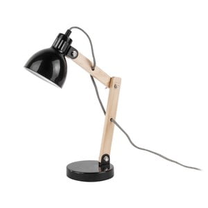 Čierna stolová lampa s drevenými detailmi Leitmotiv Ogle