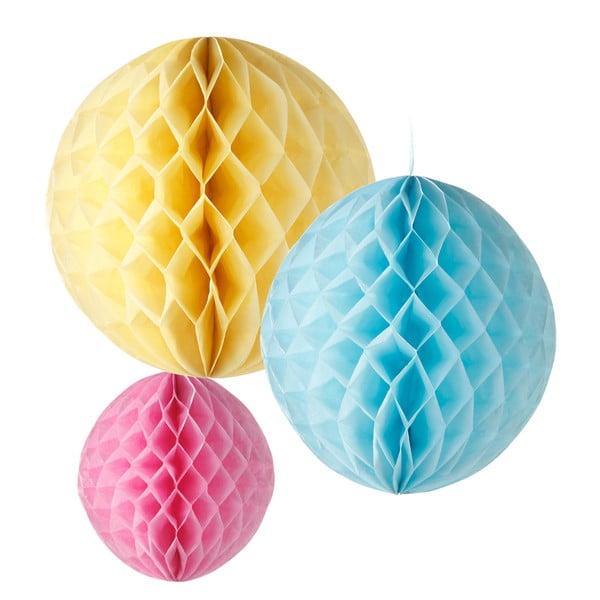 Papierové dekorácie Honeycomb Pastel, 3 kusy