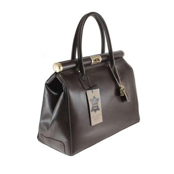 Tmavohnedá kožená taška Camilla