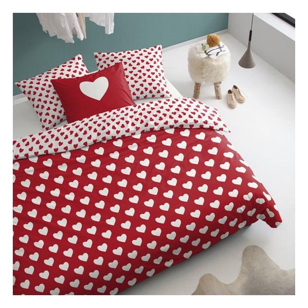 Červené obliečky Cinderella Hearts, 200x200cm