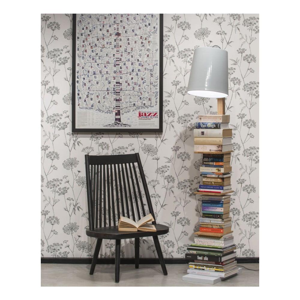 Voľne stojacia lampa s bielym tienidlom a policami Citylights Cambridge, výška 168 cm