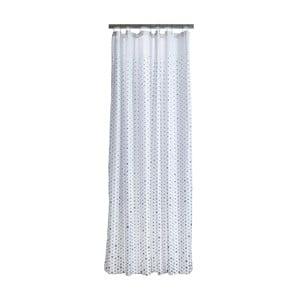 Biely sprchový záves s detailmi v sivej farbe Zone Drops