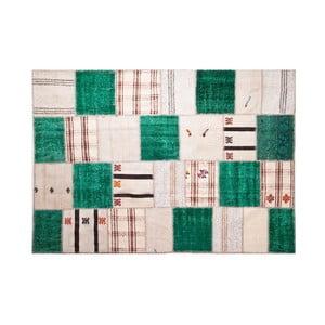 Vlnený koberec Allmode Green Kilim, 150x80 cm