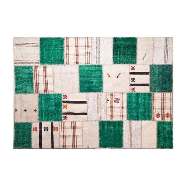 Vlnený koberec Allmode Green Kilim, 200x140 cm