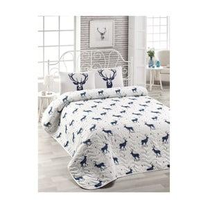 Set plédu cez posteľ a 2 obliečky na vankúš s prímesou bavlny Geyik Dark Blue, 200 x 220 cm