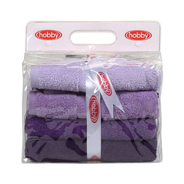 Sada 4 fialových bavlnených uterákov Rainbow Violet, 50 x 90 cm