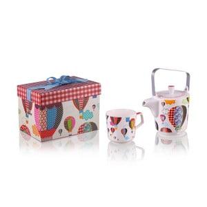 Kanvička so 6 hrnčekmi z kostného porcelánu a sitkom na sypaný čaj Silly Design baloons, 500 ml