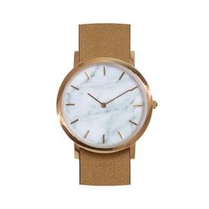 Biele mramorové hodinky s hnedým remienkom Analog Watch Co. Classic
