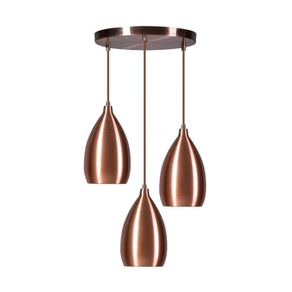 Medené trojité stropné svietidlo ETH Ajaccio Lewis