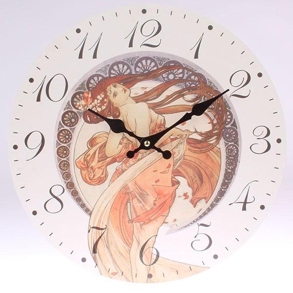 Drevené hodiny Mucha, 34x34 cm