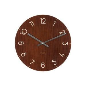Tmavohnedé hodiny Present Time Glass Wood, ⌀40cm
