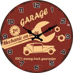 Sklenené hodiny Mechanik, 38 cm