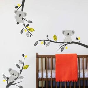 Samolepka na stenu Koaly a vetvy, žltá - 2 archy, 70x50 cm