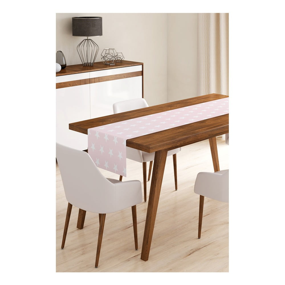 Behúň na stôl z mikrovlákna Minimalist Cushion Covers Pink Stars, 45 × 145 cm