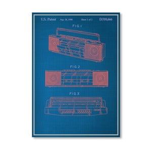 Plagát Vintage Boombox, 30x42 cm