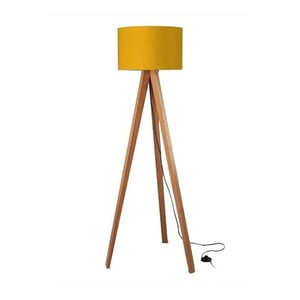 Stojacia lampa Tripod Yellow/Walnut