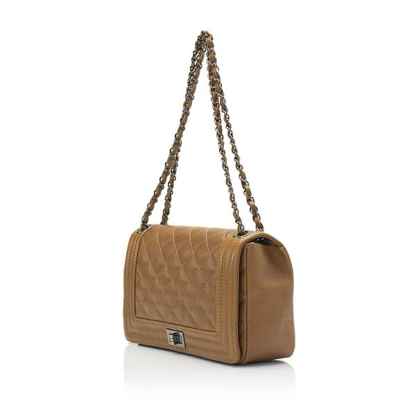 Koňakovohnedá kožená kabelka Lisa Minardi Silviana