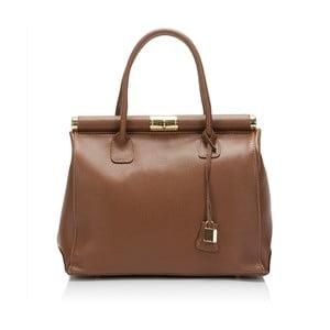 Hnedá kožená kabelka Markese Crocco Suede