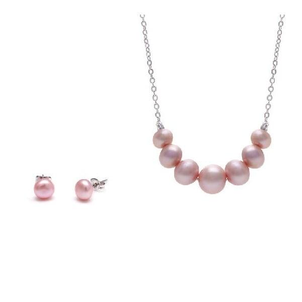 Sada náhrdelníka a náušníc z riečnych perál Chain, ružová