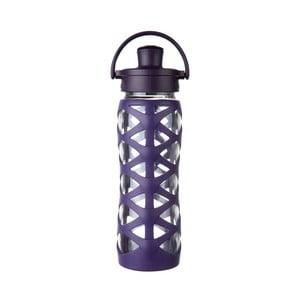 Sklenená fľaša na vodu so silikónovým chráničom Lifefactory Aubergine Activ, 650 ml