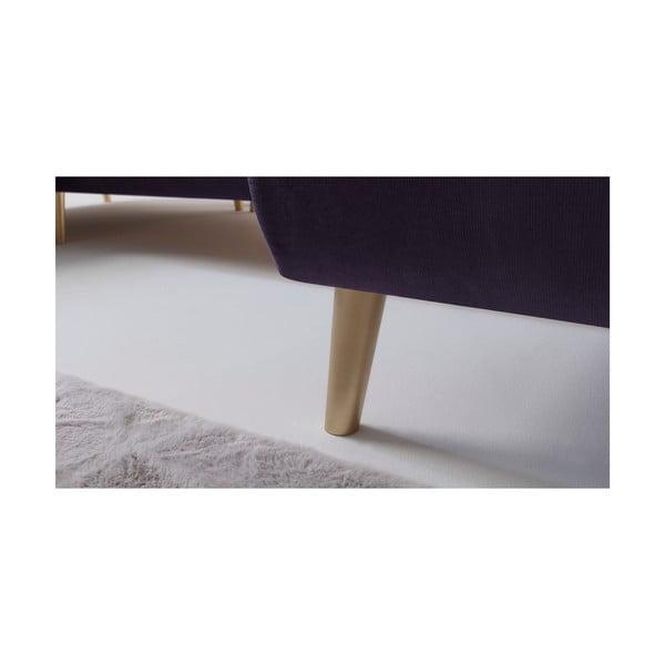 Fialová rozkladacia štvormiestna pohovka Bobochic Paris Hera, pravý roh