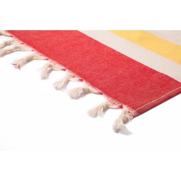 Červeno-béžová hammam osuška Begonville Form, 95x175cm