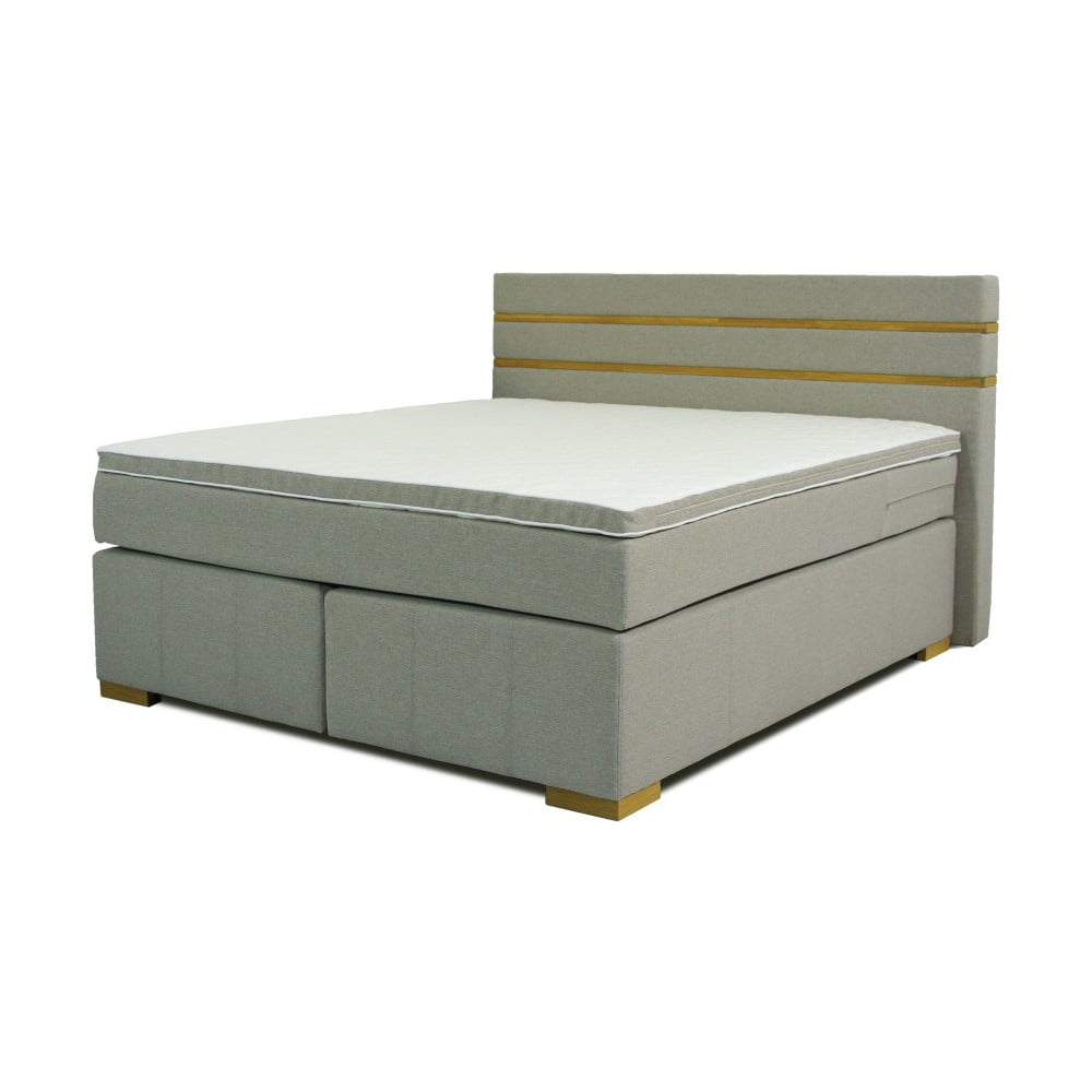 Sivá dvojlôžková boxspring posteľ Sinkro Victoria, 180 x 200 cm