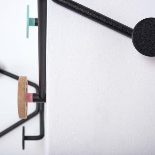 Čierny nástenný vešiak s mentolovozeleným detailom Gazzda Hook