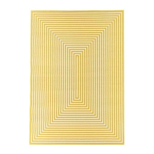 Žltý vysokoodolný a umývateľný koberec vhodný do exteriéru Braid, 160×230 cm