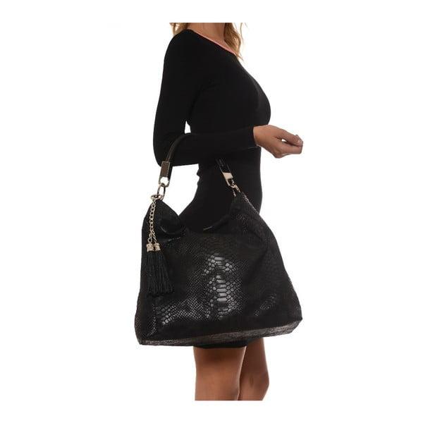 Kožená kabelka Foto, čierna