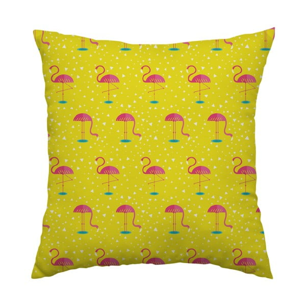 Vankúš Yellow Flamingo, 40x40 cm