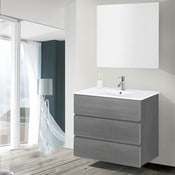 Kúpeľňová skrinka s umývadlom a zrkadlom Nayade, odtieň sivej, 80 cm