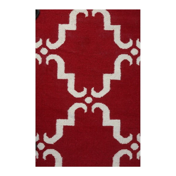 Vlnený koberec Geometry Home Red & White, 200x300 cm