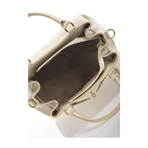 Béžová kožená kabelka Massimo Castelli Bibisa