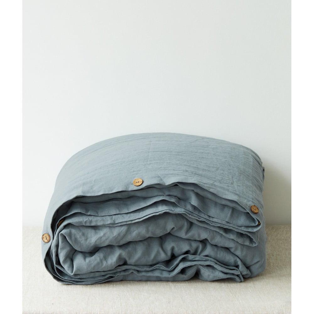 Svetlomodrá ľanová obliečka na perinu Linen Tales, 200 x 200 cm
