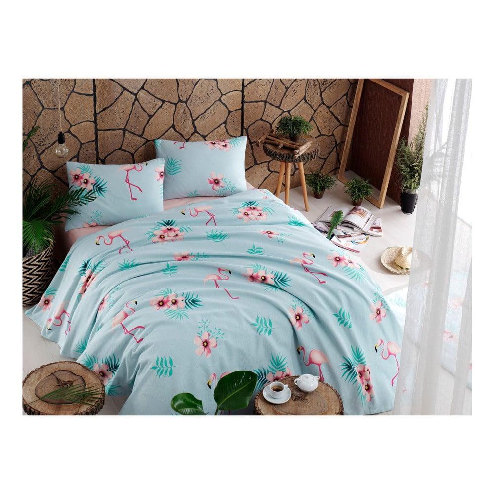 Set bavlneného plédu cez posteľ, plachta a 2 obliečky na vankúš Flamenco Mint, 200 x 235 cm