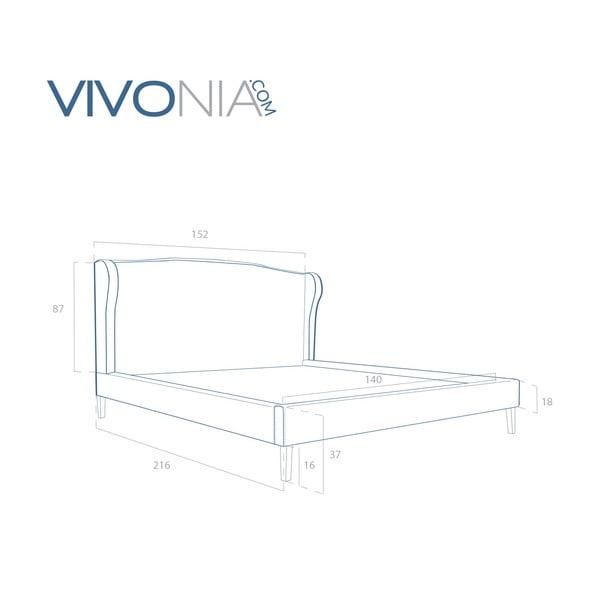 Pastelovomodrá posteľ VIVONITA Windsor 140x200cm, prírodné nohy