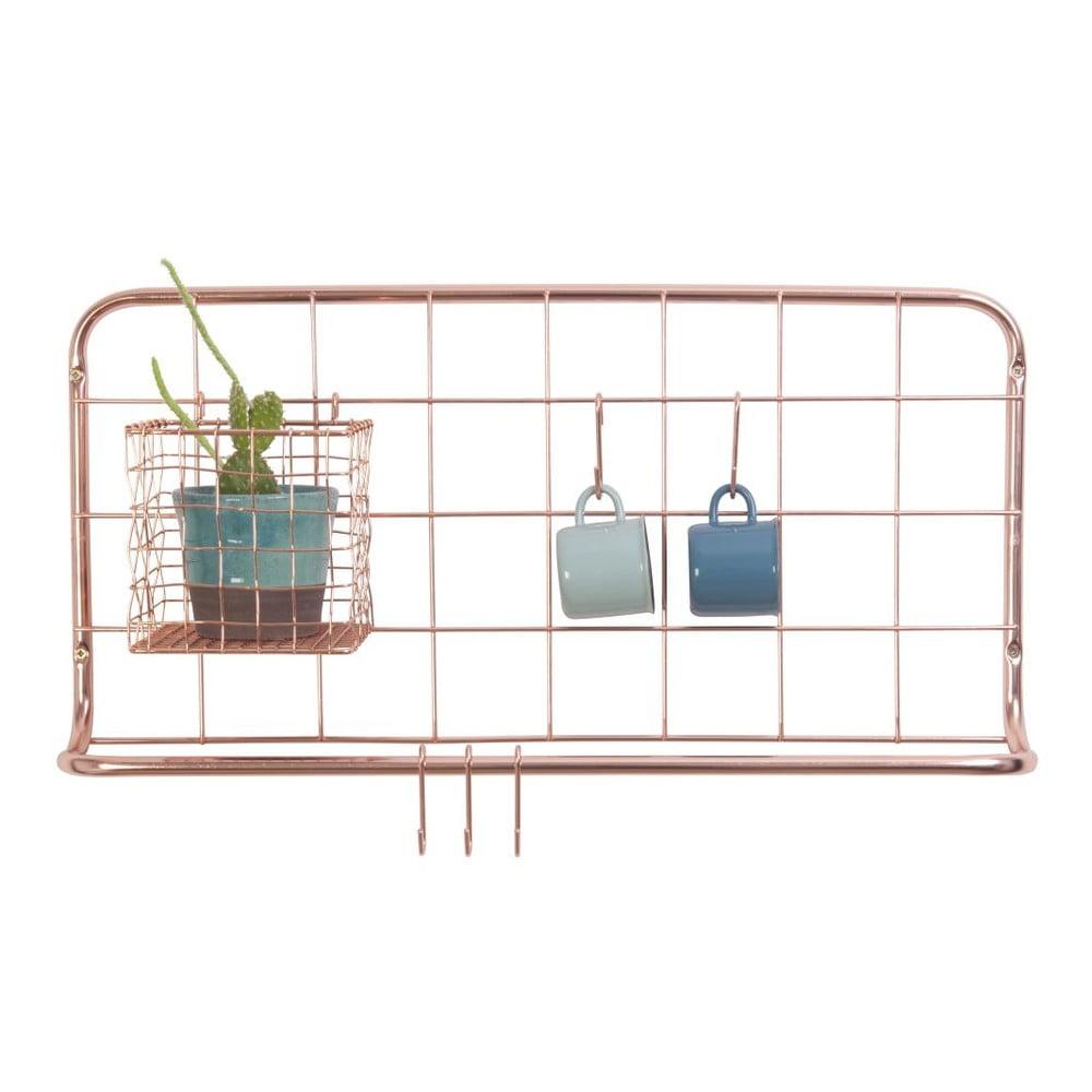 Nástenný organizér z kovu v medenej farbe PT LIVING Open Grid