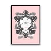 Plagát s bielymi kvetmi, ružové pozadie, 30x40 cm