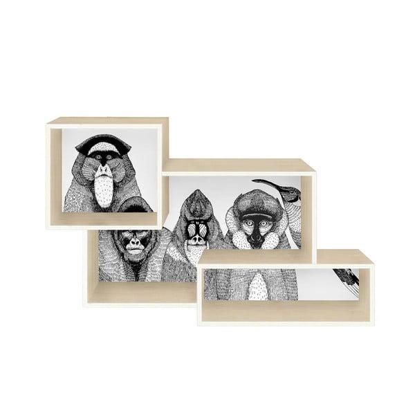 Spojená nástenná polica Monkeys