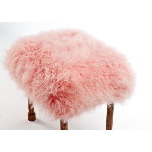 Stolička z ovčej kože Myfanwy Baby Pink