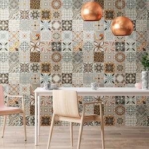 Sada 30 nástenných samolepiek Ambiance Cement Tiles Bali, 10 × 10 cm