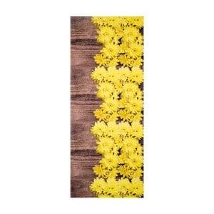 Žlto-hnedý vysokoodolný koberec Webtappeti Dalie, 58 x 80 cm