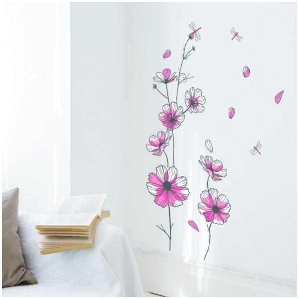 Samolepka Flowers and Dragonfly