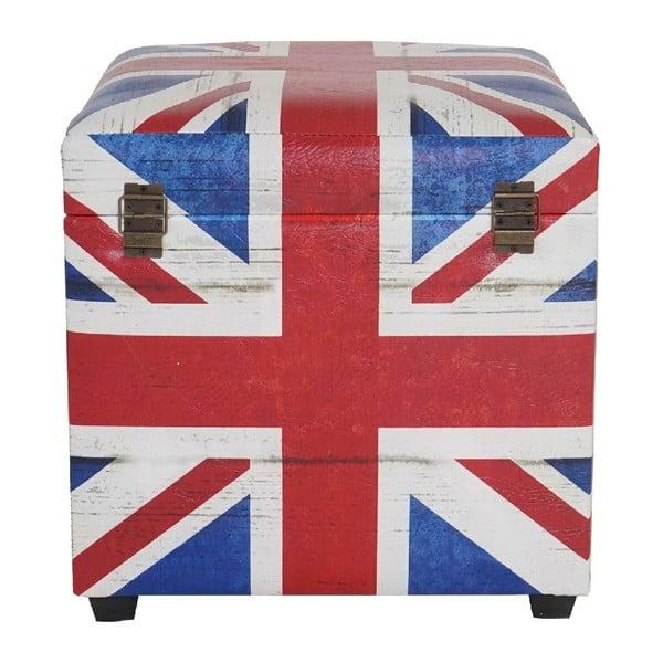 Taburetka s úložným priestorom Union Jack