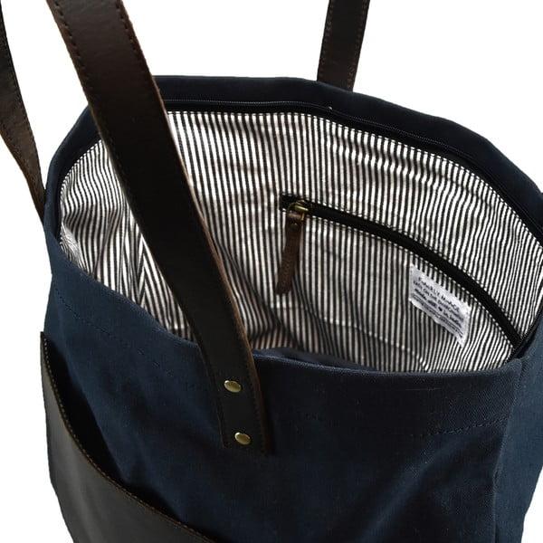 Kožená vintage maxi taška O My Bag Lou's, modrá/čierna