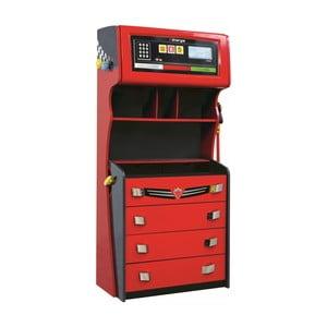 Červená šatníková skriňa Champion Racer Petrol Dresser